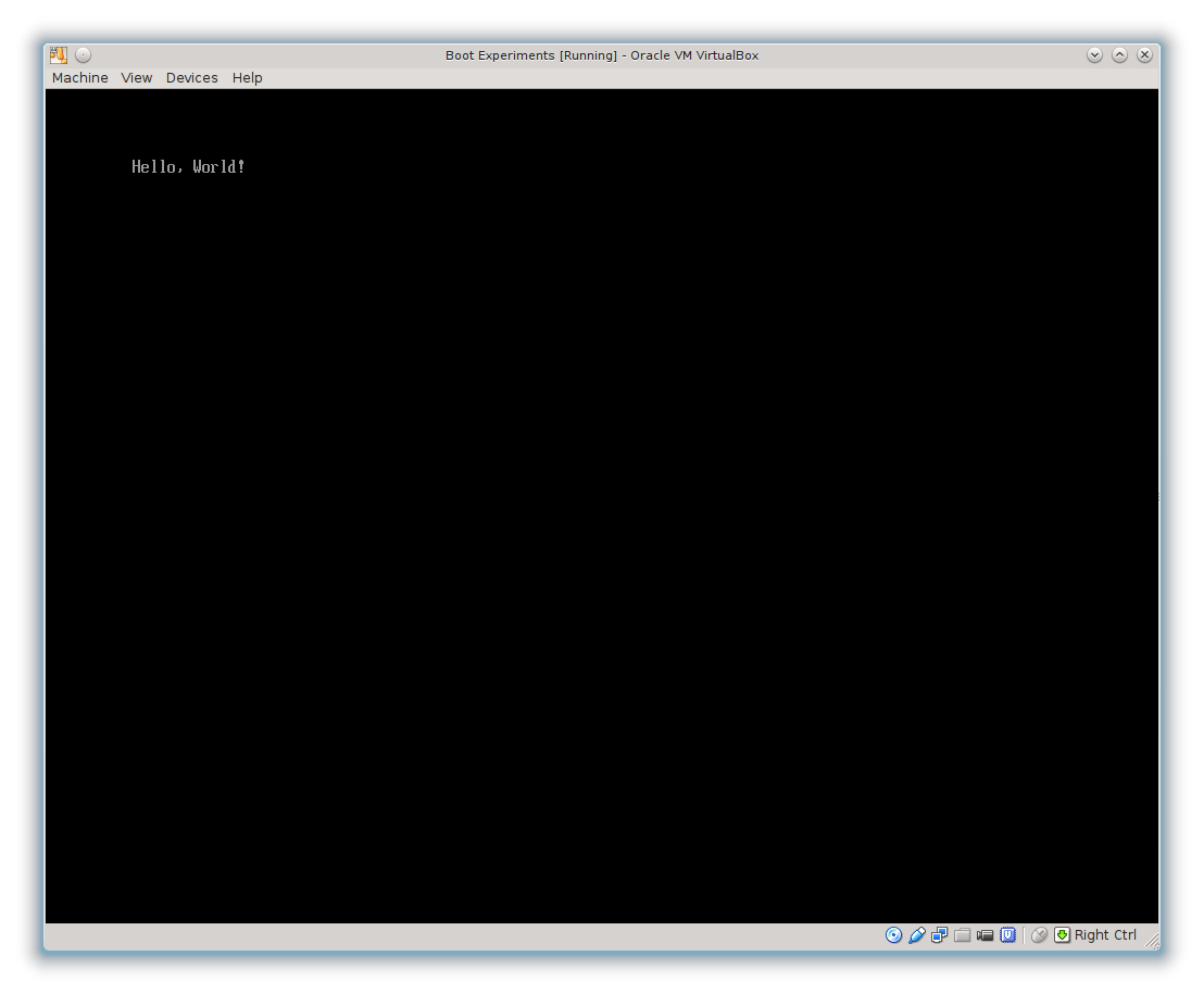 Screen shot of virtual machine running Rust Hello, World!